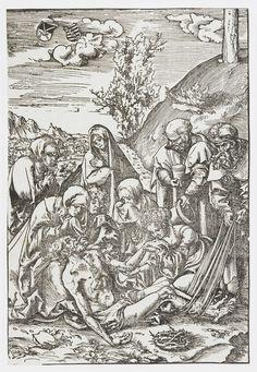 Lucas Cranach (I)   Bewening, Lucas Cranach (I), 1509   Het dode lichaam van Christus, dat zojuist van het kruis is afgehaald, wordt ondersteund door de treurende Maria en Johannes knielt naast haar. Maria Magdalena kust de hand van Christus terwijl Jozef van Arimatea het doek vasthoudt waarmee hij Christus van het kruis nam. Nikodemus staat klaar om het lichaam te balsemen. Twee kleine schilden linksboven dragen het keurvorstelijk en hertogelijk wapen van Saksen.