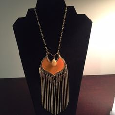 🎉Host Pick🎉Gold &sunburst orange long necklace 🎉7/17 Essential Style Host Pick🎉Never worn-Gold and sunburst orange long necklace Jewelry Necklaces
