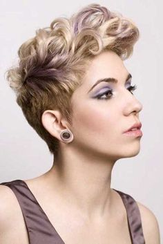 Curly Pixie Hairstyle with Undercut