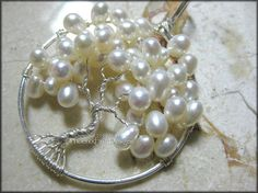 Tree of Life Pendant Freshwater Pearl Wedding Jewelry Sterling Silver Wire Wrapped Bride Bridal June Here Comes the Bride
