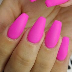 Hot Pink Nails In Matte