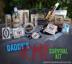 Zombie Inspired Father's Day Gift! Include free printables  #zombies #fathersday #freeprintable