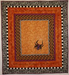 """Halloweensy Spider"" quilt pattern, 43 x by Linda Winters at Buzzing and Bumbling-I like the sashing Halloween Sewing, Fall Sewing, Halloween Quilts, Halloween Items, Halloween Party Decor, Halloween Crafts, Halloween Spider, Halloween Iii, Halloween Pillows"