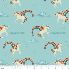 Doohikey Designs - Unicorns and Rainbows - Unicorn in Aqua at Hawthorne Threads. I think this would make an awesome skirt!