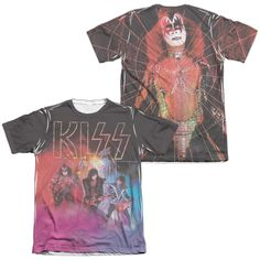 KISS/COLORED SMOKE (FRONT/BACK PRINT)-ADULT POLY/COTTON S/S TEE-WHITE