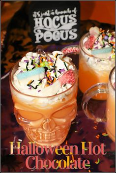 """This colorful Halloween Hot Chocolate is perfect for sipping during movie night and is inspired by my favorite Halloween flick, """"Hocus Pocus"""". Made with warm milk and orange tinted white chocolate this festive drink is the ultimate Halloween treat to enjoy this spooky season! Drink Recipes Nonalcoholic, Rum Cocktail Recipes, Easy Drink Recipes, Drinks Alcohol Recipes, Snack Recipes, Halloween Treats, Easy Halloween Food, Halloween Appetizers, Halloween Desserts"""