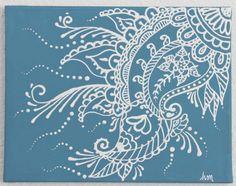 Mehndi Henna Painting- Stormy blue and white-ON SALE via Etsy Dot Painting, Painting & Drawing, Henna Kunst, Henna Paint, Paisley Art, Puffy Paint, Mandala Art, Illustrations, Indian Art