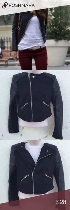 Black MOTO jacket CROP biker Bomber petite leather Faux leather black motorcycle jacket. In excellent condition. Faux leather sleeves, with MOTO stitching, pebbles texture, zipper detailing, and soft warm varsity jacket-like fabric in the front panels (cotton blend) and backside. Cropped in length. Fits small/petite. rock on! (D14) Jackets & Coats