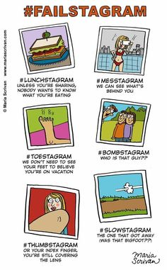 The Failstagram:  Maria Scrivan illustrates some new hashtags for all our Instagram fails.
