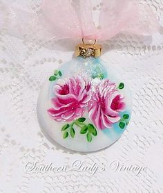 hand painted christmas ornaments bing images | Blue Christmas Hand Painted Christmas Ornament / Roses