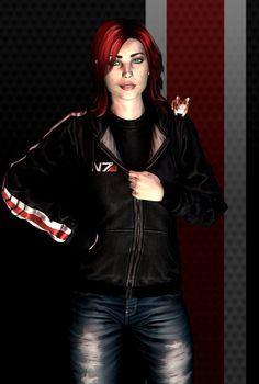 Mass Effect - Shepard & her space hamster (Shepard and lil' dude by fishbone76 on DeviantArt)