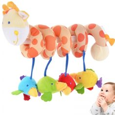 2014 New Baby Crib Round the Bed Hanging Bird animal Toys. Color: Multi-color (shown as pictures) Material: Plush Gender: unisex For 0-3years old baby Body Size: 33cm ~ 70cm (Length) Pendant size: 10cm x 6cm Brightly colored, with stretchy legs that rattle, crinkle, jingle, chime, and squeak Builds coordination by rewarding baby\'s pulls, squeezes, and grabs with fun sounds Soft body and head; teether rings around neck; colorful ribbons, knots, and ties make up legs Designed for …