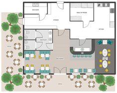 Cafe and Restaurant Floor Plans Floor Planner - Restaurant Outdoor Area, Patio Plan Cafe Floor Plan, Restaurant Floor Plan, Restaurant Layout, Deco Restaurant, Floor Plan Layout, Modern Restaurant, Restaurant Ideas, Cafeteria Plan, Cafeteria Design