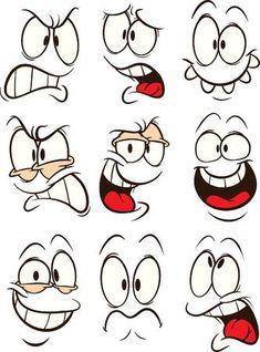 Cartoon Faces Expressions, Funny Cartoon Faces, Drawing Cartoon Faces, Cartoon Art Styles, Simple Cartoon Drawings, Funny Cartoon Drawings, Drawing Face Expressions, Funny Cartoon Characters, Cartoon Ideas
