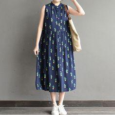 Women summer sleeveless loose cotton dress