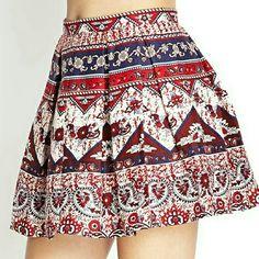 Multicolor Folk Print Linen Skirt JUST IN TIME FOR 4TH OF JULY!!!!  NWT. Multicolor Folk Print Linen Skirt. Size 27 Skirts Mini