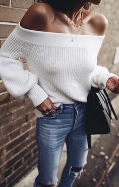 White off the shoulder sweater.