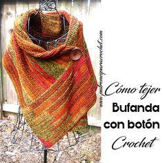 Bufanda con Botón a Crochet / Paso a paso   Patrones para Crochet
