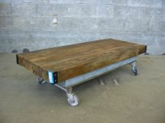 Industrial Coffee Table on Casters | Second Use, Seattle: Building Materials, Salvage, & Deconstruction