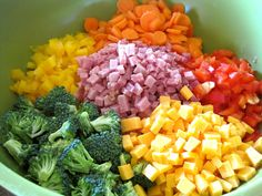 Mrs. Schwartz's Kitchen: Ranch Pasta Salad (yellow and red pepper, carrots, broccoli-optional ham and cheese-maybe with an Italian sauce instead to lighten the recipe)