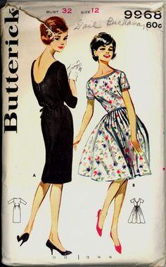 1960s Scoop Back Button Dress Butterick 9908 by VintagePatternsCo1
