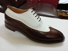 New Handmade men dress leather two tone shoes,Men brown and white wingtip shoes - Dress/Formal