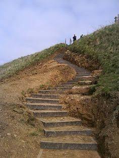 Image result for log garden steps on a slope