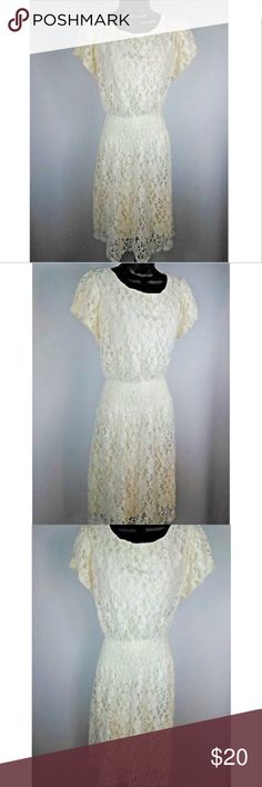 Ultra Pink Cream Floral Lace Short Sleeve Dress Ultra Pink Cream Floral Lace Short Sleeve Dress Size 2X Ultra Pink Dresses