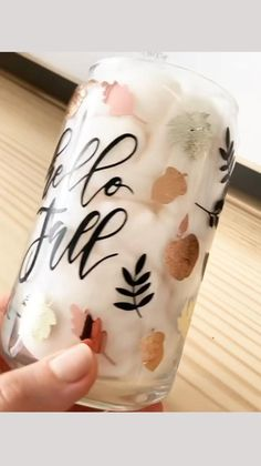 Fall Wine Glasses, Cricut Tutorials, Cricut Ideas, Crafts To Sell, Diy Crafts, Wine Glass Crafts, Cute Cups, Silhouette Cameo Projects, Candle Jars