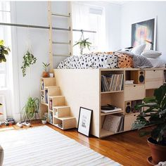 DIY Bed Frames - Elevated bed with storage Dream Rooms, Dream Bedroom, Home Bedroom, Girls Bedroom, Bedroom Decor, Space Saving Bedroom Furniture, Teenage Bedrooms, Bedroom Sets, Girl Room
