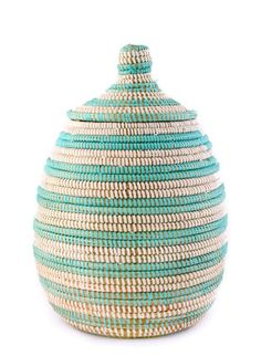 Striped Lidded Storage Basket by Leif