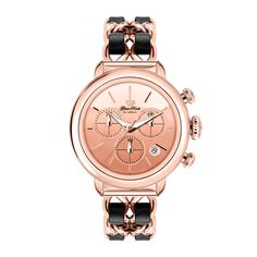 Glam Rock Rose Gold IP Stainless Steel Case Cover and Genuine Leather Rose Gold IP 2 Link Bracelet