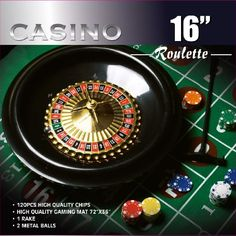 Da Vinci 16-Inch Roulette Wheel Game Set with 120 11.5-Gram Chips Full Size 3'x6' Felt Layout and Rake