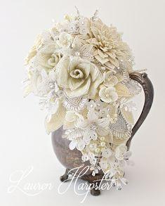 Ivory French Beaded Wedding Bouquet by Lauren Harpster of Lauren's Creations
