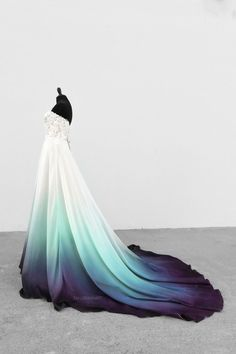 Bridal Gowns Colored by Taylor Ann Art - Gallery Ombre Wedding Dress, Dream Wedding Dresses, Wedding Gowns, Wedding Hijab, Wedding Cakes, Pretty Prom Dresses, Cute Dresses, Elegant Dresses, Fantasy Dress