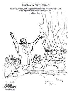 Elijah on Mount Carmel. Coloring page, script and Bible story. http://kidscorner.reframemedia.com/bible/stories/elijah-on-mount-carmel/