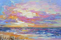 Seascape Painting Sunset Impasto Wall Art Palette Knife Colorful Textured Coastal Painting 022