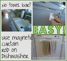 When you don't have a towel bar close to your kitchen sink...here's an idea!