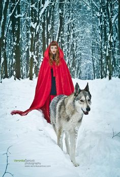 """Little Red Riding Hood"" Miss Bo by Veronika Šantoši Thanks Debbie for Jasper (Tamaskan Dog)"
