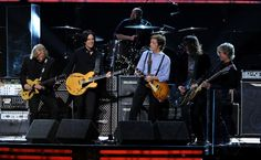 (L-R) Joe Walsh, Rusty Anderson, Paul McCartney, Dave Grohl and Brian Ray perform onstage at the 54th Annual GRAMMY Awards held at Staples Center on February 12, 2012 in Los Angeles, California.