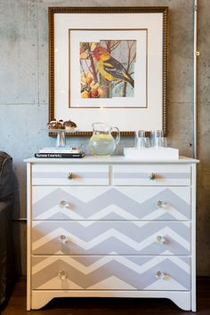 chevron dresser // #studio apartment // decor so cuuuute. def want to do something like this