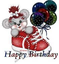 Bear inside a shoe with balloons image: Happy Birthday! - ツ Happy Birthday 4 You: Pictures, Images & Gifs ツ Happy Birthday Betty Boop, Happy 21st Birthday, Birthday Gifts For Teens, Birthday Love, Birthday Gifs, Funny Birthday, Happy Birthday Celebration, Birthday Wishes Cards, Happy Birthday Messages