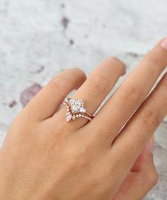 Moissanite engagement ring set Rose gold Oval cut Unique Halo | Etsy
