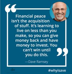 Financial peace tip on not acquiring stuff