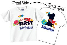 First Birthday Shirts for Boys with Space Tees by TheCuteTee