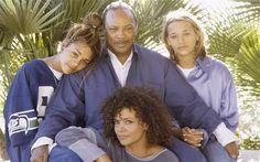Quincy with three of his daughters, Jolie, Kidada and Rashida, in 1995