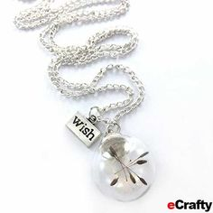 "Dandelion Wish Globe Necklace with 32"" silver plated box chain with lobster clasp. Darling 20mm clear glass globe contains dandelion flower and had a silver dome bail. www.ecrafty.com #gifts #dandelionseed #wish #necklace #gift #jewelry #fillable #minibottle #charms #ecrafty #crafts #diy #chain"