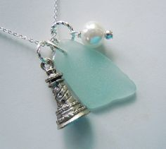 Lighthouse Charm Seaglass Necklace Sea Glass by BeachGlassMemories, $25.95
