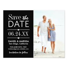 Save the Date Photo Card | Black and White