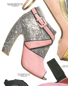How cute! I love the light pink with the silver glitter peep toes